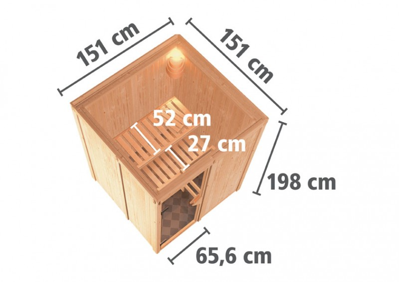 Karibu Plug & Play Systemsauna 68mm Minja mit Fronteinstieg und Bronzierter Tür - ohne Dachkranz