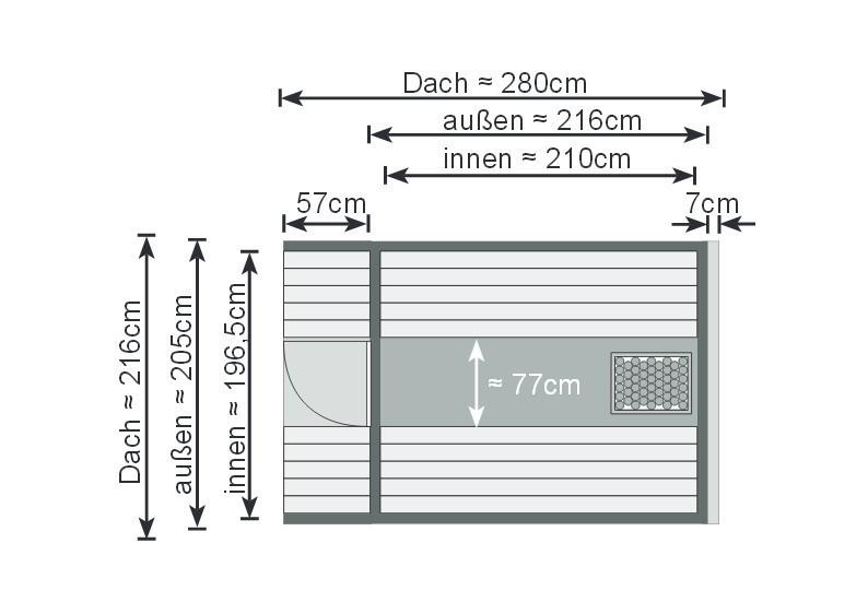 Karibu Fasssauna 2 - 42 mm - Tonnendach, naturbelassen -  Fass-Sauna inkl. 9 KW Saunaofen mit ext. Steuerung und Zubehör