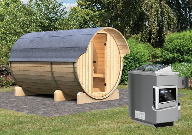 Karibu Fasssauna 3 mit Vorraum - 42 mm - Tonnendach, naturbelassen -  Fass-Sauna inkl. Saunaofen 9 KW mit ext. Steuerung Zubehör