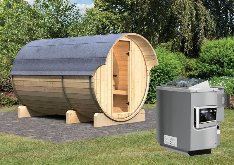 Karibu Fasssauna 3 mit Vorraum - 42 mm - Tonnendach, naturbelassen -  Fass-Sauna inkl. Bio-Saunaofen 9 KW mit ext. Steuerung Zubehör