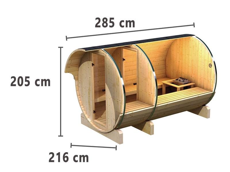 SPARSET! Karibu Fasssauna 3 mit Vorraum - 42 mm Saunahaus - Tonnendach - naturbelassen - inkl. Dachschindeln dunkelrot