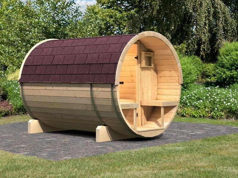 Karibu Fasssauna 3 mit Vorraum - 42 mm - Tonnendach, naturbelassen -  Fass-Sauna inkl. Daschindeln in dunkelrot und Zubehör