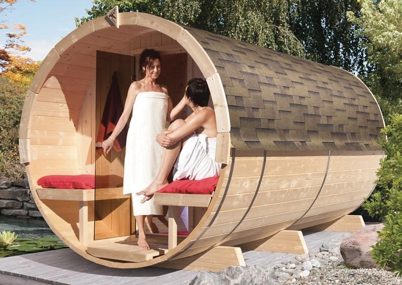 Karibu Fasssauna 4 mit Vorraum und Terrasse - 42 mm - Tonnendach, naturbelassen -  Fass-Sauna inkl. Bio-Saunaofen 9 KW mit ext. Strg und Zubehör