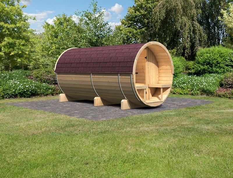 Karibu Fasssauna 4 mit Vorraum und Terrasse - 42 mm - Tonnendach, naturbelassen -  Fass-Sauna inkl. Dachschindeln dunkelrot und Zubehör