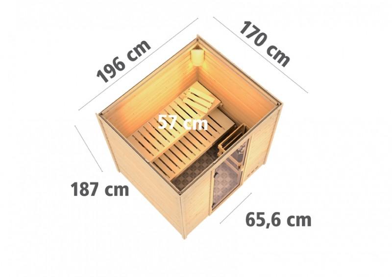Woodfeeling 38 mm Massiv Sauna Adina Classic (Fronteinstieg) für niedrige Räume