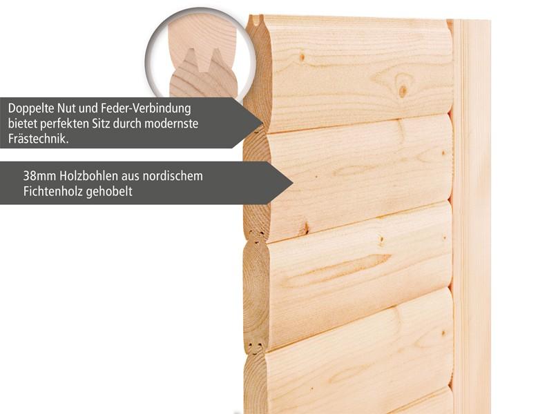Woodfeeling 38 mm Massiv Sauna Adina Classic (Fronteinstieg) für niedrige Räume mit Dachkranz