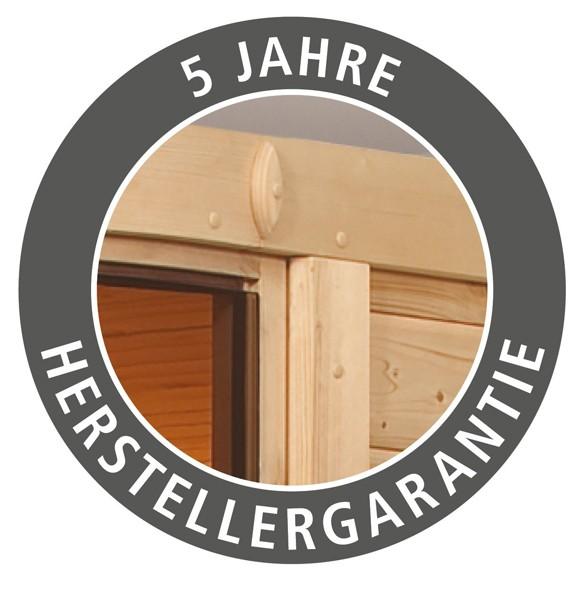 Woodfeeling 38 mm Massiv Sauna Elia Classic (Eckeinstieg) für niedrige Räume mit Dachkranz