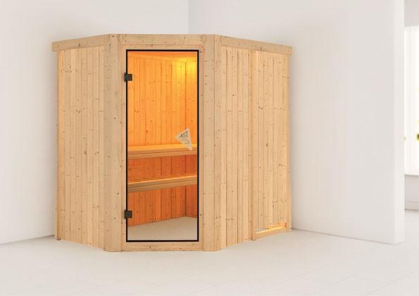 Karibu Plug & Play Systemsauna 68mm Saja mit Eckeinstieg und Bronzierter Tür - ohne Dachkranz