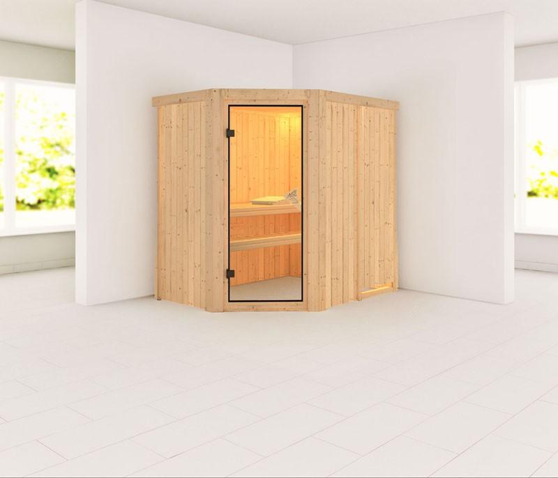 Karibu Heimsauna Saja (Eckeinstieg) ohne Zubehör Kein Kranz Plug & Play 230Volt Sauna