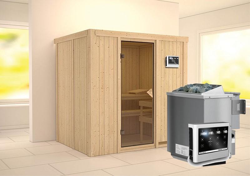 Karibu Heimsauna Bodin (Fronteinstieg) Ofen 9 kW Bio externe Strg easy Kein Kranz 68 mm Systemsauna