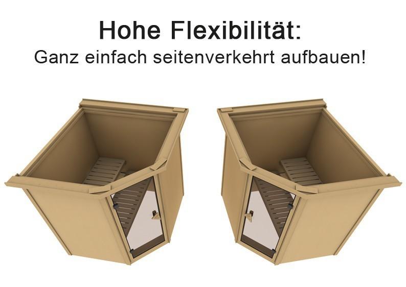 Karibu Heimsauna Carin (Eckeinstieg) Ofen 9 kW integr. Strg  Kein Kranz 68 mm Systemsauna