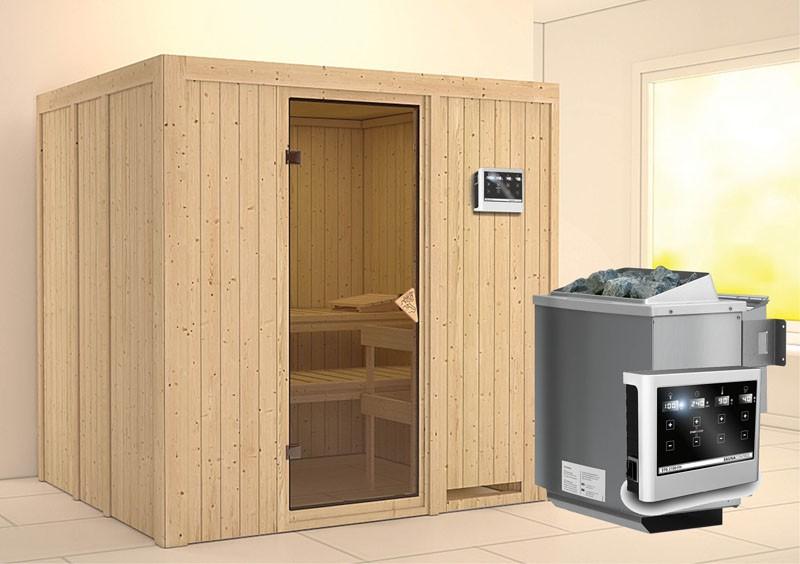 Karibu Heimsauna Sodin (Fronteinstieg)   Ofen 9 kW Bio externe Strg easy Kein Kranz 68 mm Systemsauna