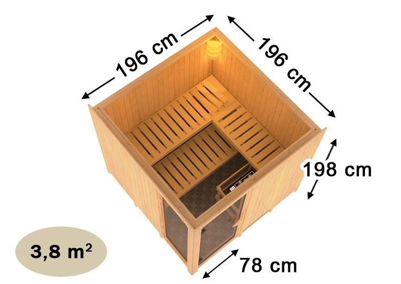 Karibu Heimsauna Helin (Fronteinstieg) Ofen 9 kW Bio externe Strg easy mit Dachkranz 68 mm Systemsauna
