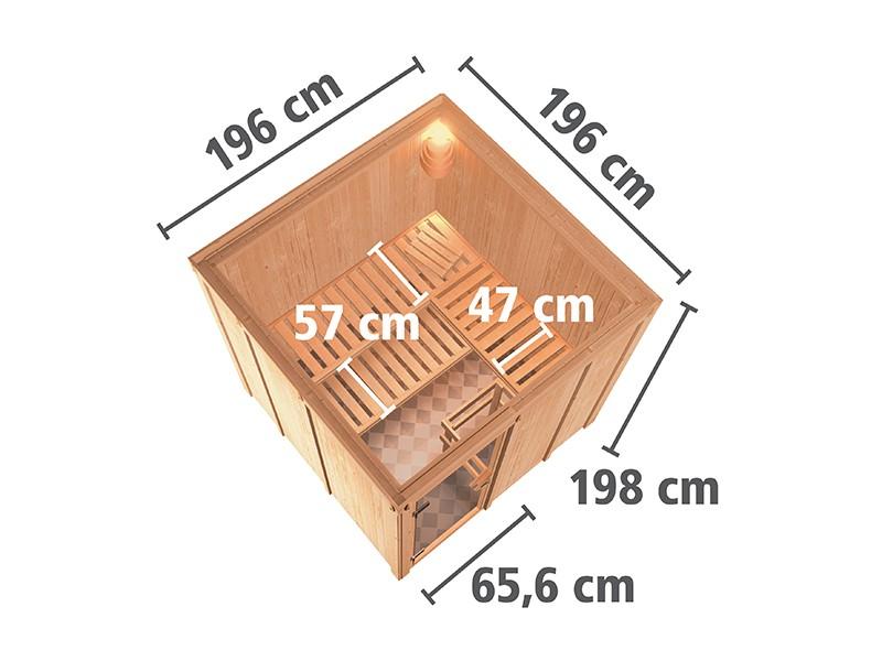 Karibu 68mm Systembausauna Rodin - Fronteinstieg - Ganzglastür bronziert - ohne Dachkranz - 9kW Bio-Kombiofen mit externer Steuerung Easy bio
