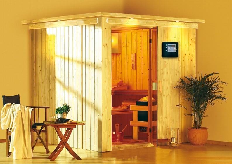 Karibu Heimsauna Rodin (Fronteinstieg) Ofen 9 kW Bio externe Strg easy mit Dachkranz 68 mm Systemsauna