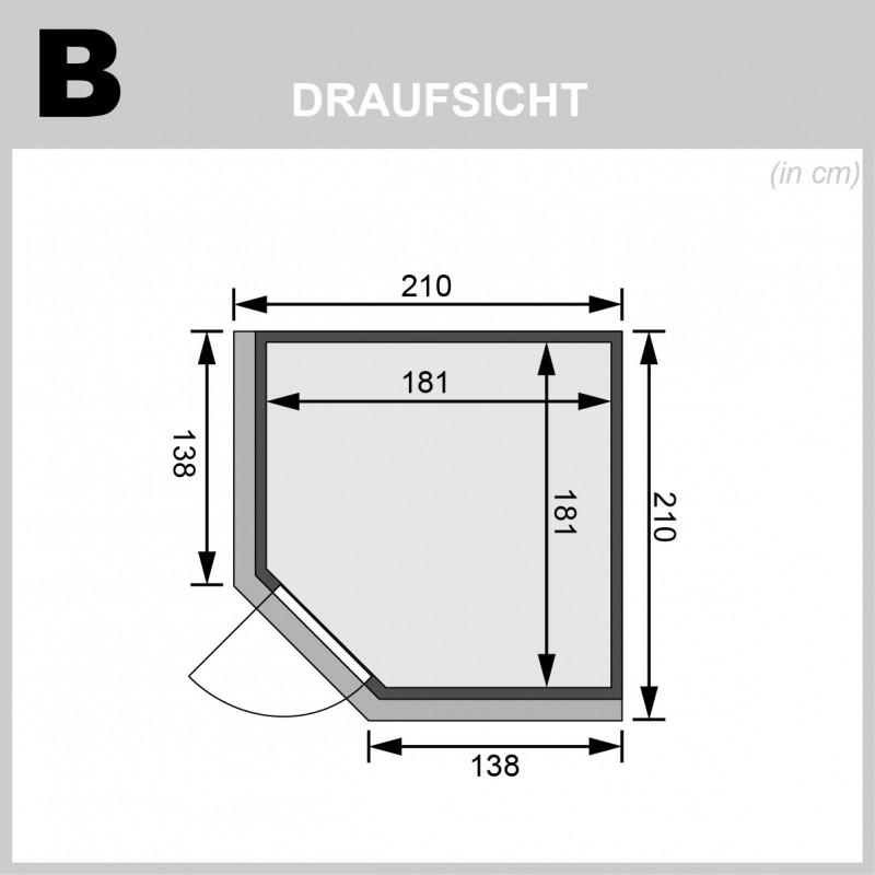 Karibu 68mm Systembausauna Jarin - Eckeinstieg - Ganzglastür bronziert - mit Dachkranz - 9kW Saunaofen mit integr. Steuerung