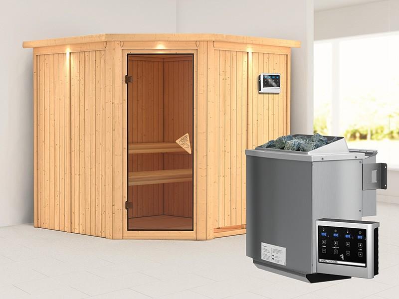 Karibu 68mm Systembausauna Jarin - Eckeinstieg - Ganzglastür bronziert - mit Dachkranz - 9kW Bio-Kombiofen mit externer Steuerung Easy bio