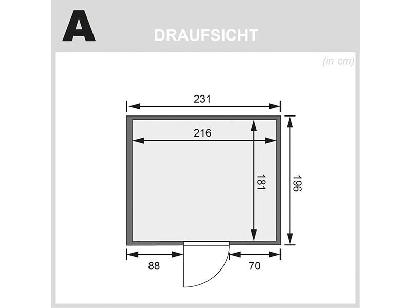 Karibu 68mm Systembausauna Gobin - Fronteinstieg - Ganzglastür bronziert - ohne Dachkranz - 9kW Saunaofen mit externer Steuerung Easy