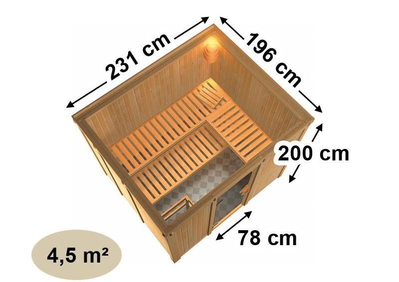Karibu Heimsauna Gobin (Fronteinstieg)   Ofen 9 kW integr. Strg  mit Dachkranz 68 mm Systemsauna