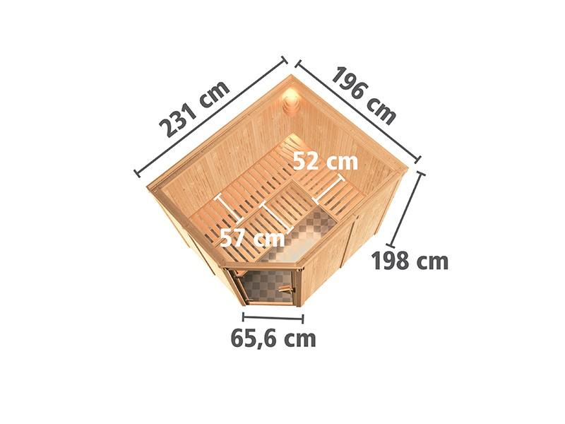 Karibu 68mm Systembausauna Malin - Eckeinstieg - Ganzglastür bronziert - ohne Dachkranz - 9kW Bio-Kombiofen mit externer Steuerung Easy bio