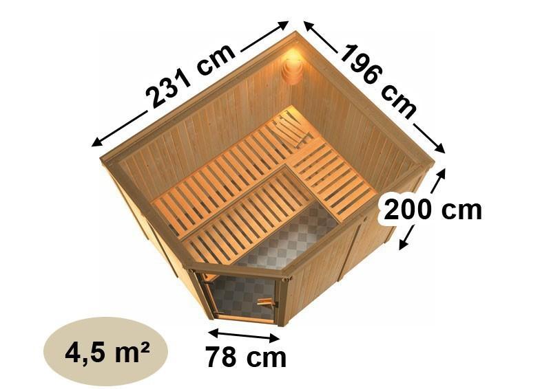Karibu Heimsauna Malin (Eckeinstieg) Ofen 9 kW integr. Strg  mit Dachkranz 68 mm Systemsauna