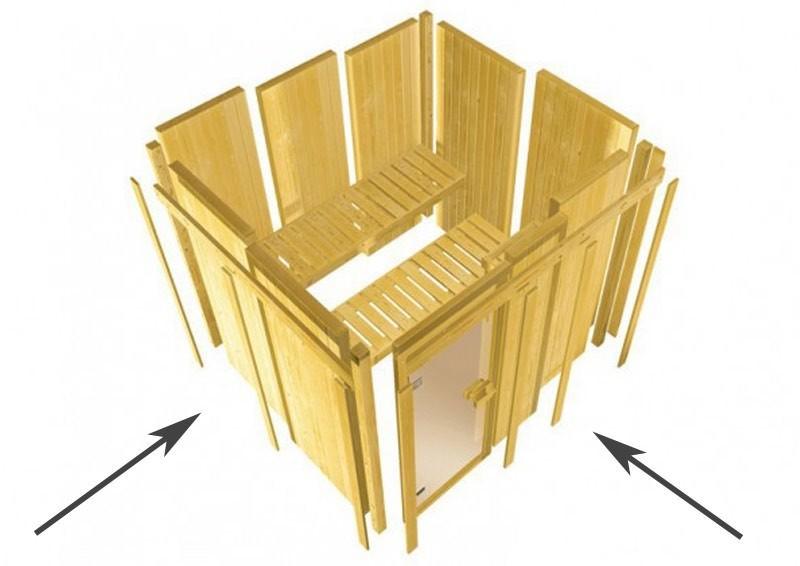 Karibu Heimsauna Malin (Eckeinstieg) Ofen 9 kW Bio externe Strg easy mit Dachkranz 68 mm Systemsauna