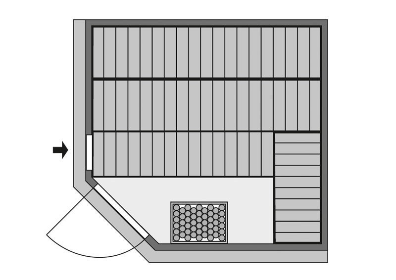 Karibu Heimsauna Farin (Eckeinstieg) Ofen 9 kW integr. Strg  Kein Kranz 68 mm Systemsauna