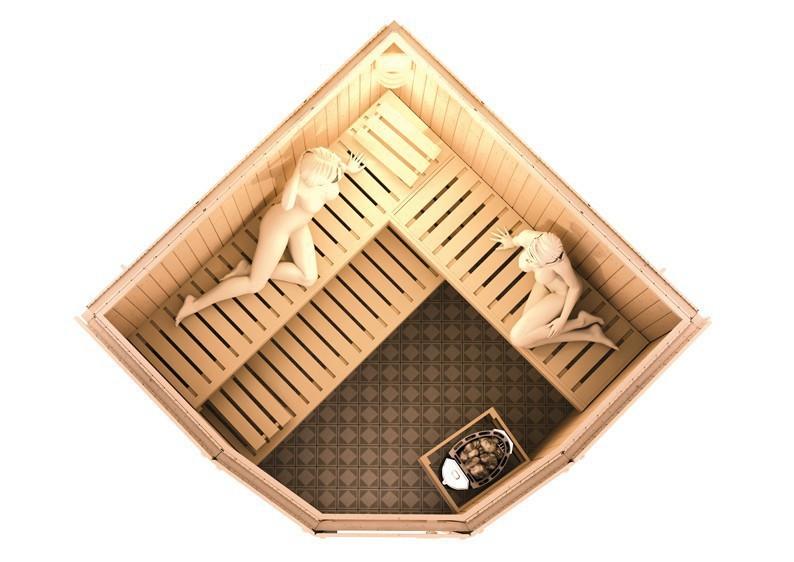 Karibu Heimsauna Simara 1 (Eckeinstieg) Ofen 9 kW integr. Strg  Kein Kranz 68 mm Systemsauna