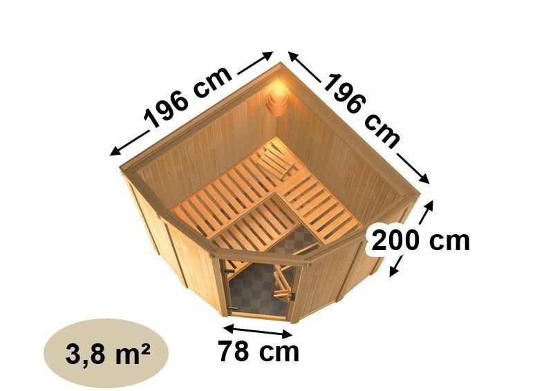 Karibu Heimsauna Simara 1 (Eckeinstieg) Ofen 9 KW externe Strg easy Kein Kranz 68 mm Systemsauna