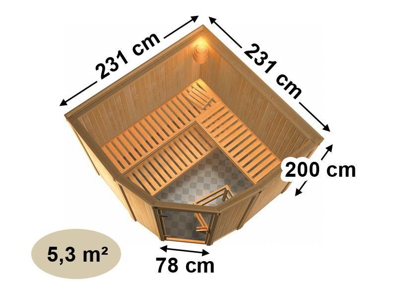 Karibu Heimsauna Simara 3 (Eckeinstieg) Ofen 9 kW integr. Strg  Kein Kranz 68 mm Systemsauna