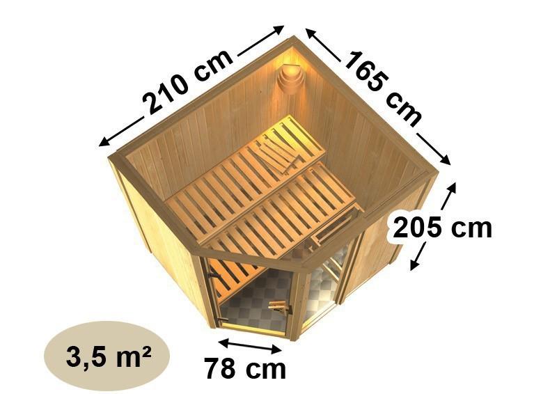 Karibu Heimsauna Fiona 1 (Eckeinstieg)  Ofen 9 kW integr. Strg  Kein Kranz 68 mm Systemsauna