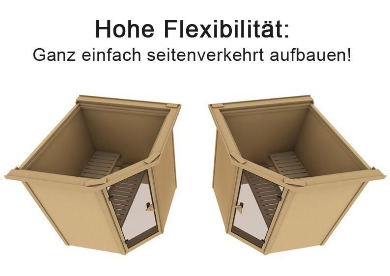 Karibu Heimsauna Fiona 1 (Eckeinstieg)  Ofen 9 kW integr. Strg  mit Dachkranz 68 mm Systemsauna