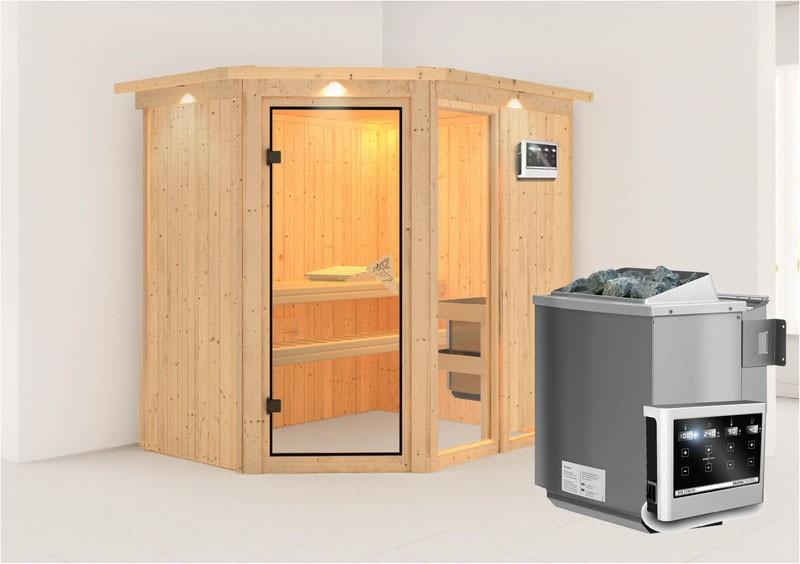 Karibu Heimsauna Fiona 1 (Eckeinstieg)  Ofen 9 kW Bio externe Strg easy mit Dachkranz 68 mm Systemsauna