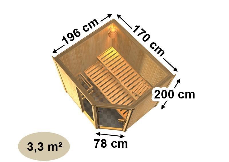 Karibu Heimsauna Fiona 2 (Eckeinstieg)  Ofen 9 kW Bio externe Strg easy mit Dachkranz 68 mm Systemsauna