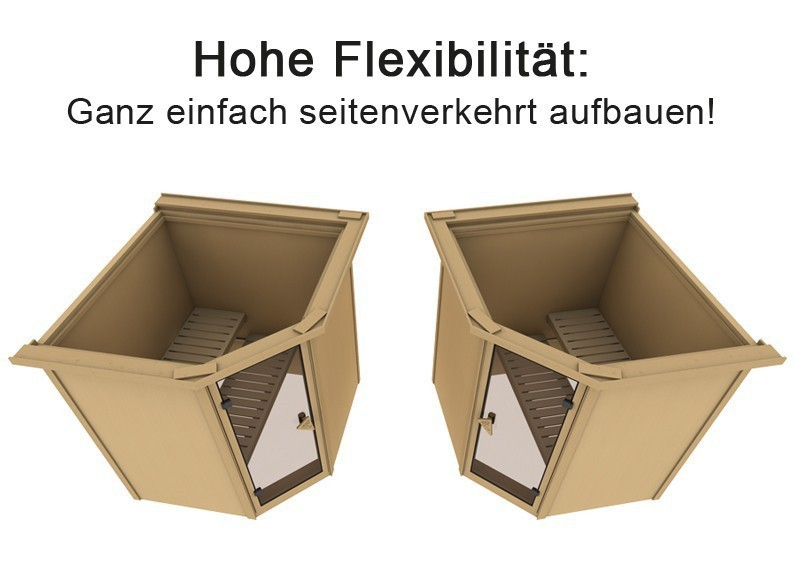 Karibu Heimsauna Fiona 3 (Eckeinstieg) Ofen 9 kW integr. Strg  Kein Kranz 68 mm Systemsauna