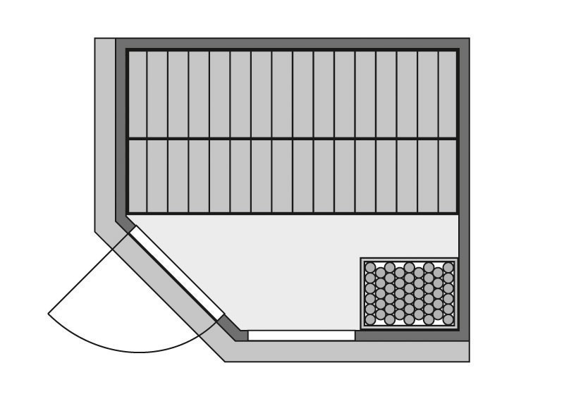 Karibu Heimsauna Fiona 3 (Eckeinstieg) Ofen 9 KW externe Strg easy mit Dachkranz 68 mm Systemsauna