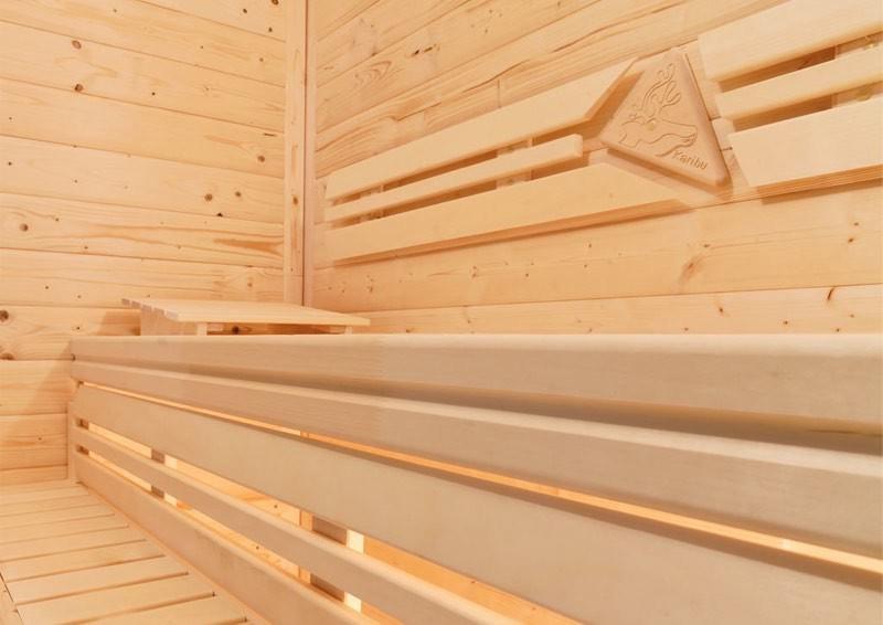 Karibu Heimsauna Fiona 3 (Eckeinstieg) Ofen 9 kW Bio externe Strg easy mit Dachkranz 68 mm Systemsauna