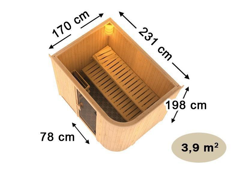 Karibu Heimsauna Titania 4 ( Fronteinstieg) Ofen 9 kW integr. Strg  Kein Kranz 68 mm Systemsauna