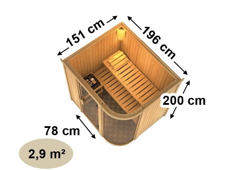 Karibu Heimsauna Parima 2  (Fronteinstieg) Ofen 9 KW externe Strg easy Kein Kranz 68 mm Systemsauna
