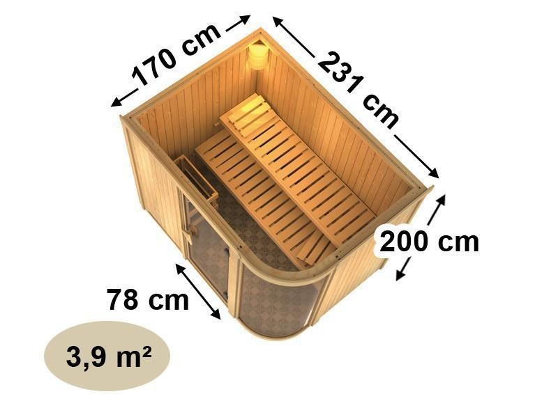 Karibu Heimsauna Parima 4 (Fronteinstieg) Ofen 9 kW Bio externe Strg easy Kein Kranz 68 mm Systemsauna