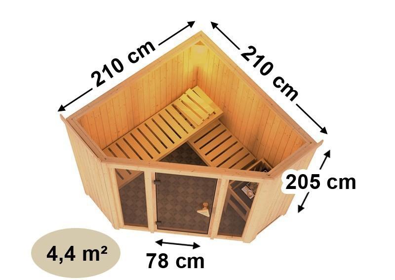 Karibu Heimsauna Flora 1 Ganzglas (Fronteinstieg) Ofen 9 kW Bio externe Strg easy mit Dachkranz 68 mm Systemsauna