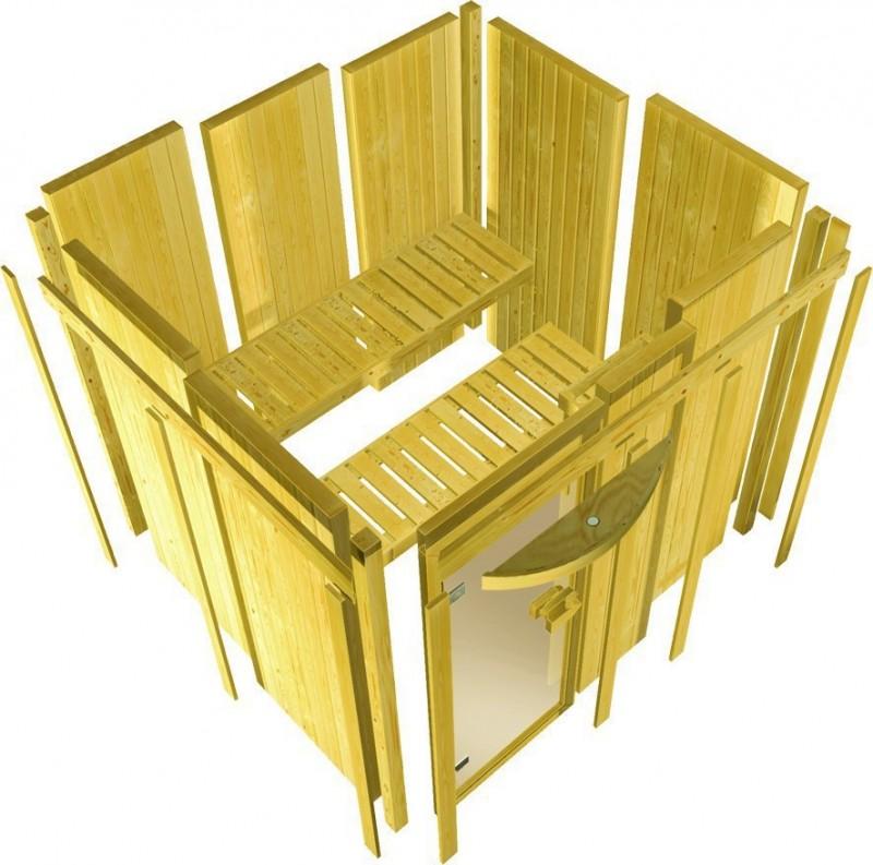 Karibu Heimsauna Flora 2 Ganzglas (Fronteinstieg) Ofen 9 kW Bio externe Strg easy Kein Kranz 68 mm Systemsauna