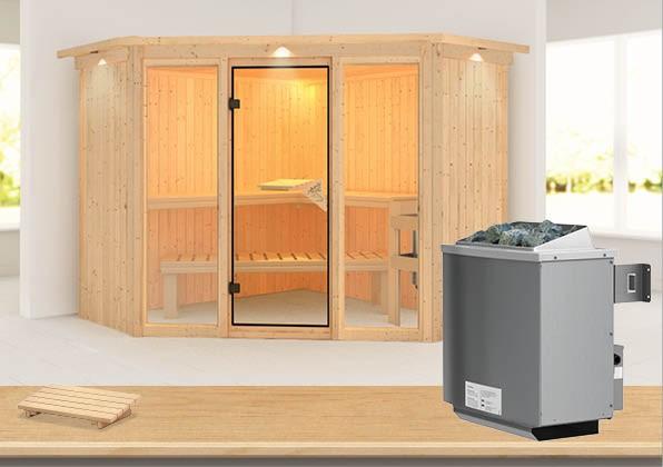Karibu Heimsauna Flora 2 Ganzglas (Fronteinstieg) Ofen 9 kW integr. Strg  mit Dachkranz 68 mm Systemsauna