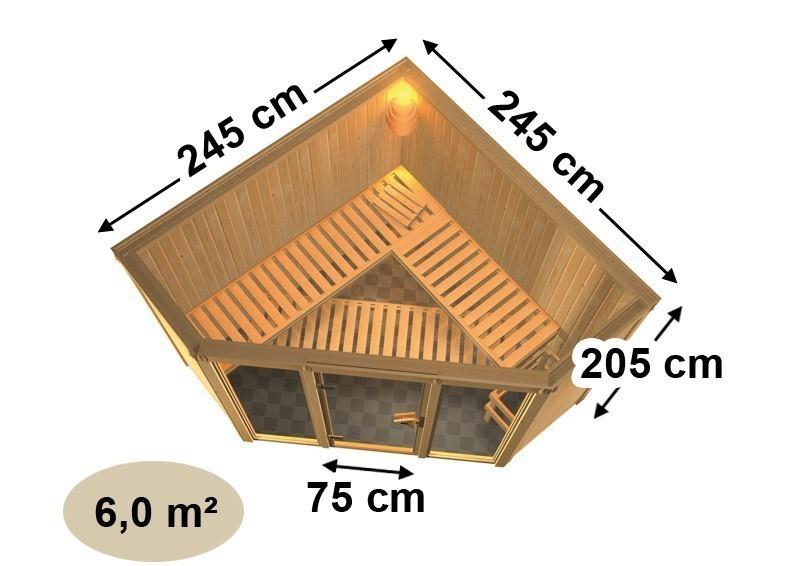Karibu Heimsauna Flora 2 Ganzglas (Fronteinstieg) Ofen 9 KW externe Strg easy mit Dachkranz 68 mm Systemsauna