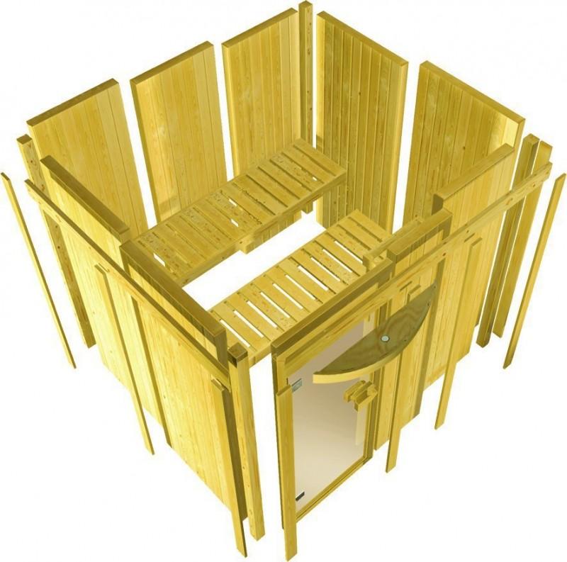 Karibu Heimsauna Flora 2 Ganzglas (Fronteinstieg) Ofen 9 kW Bio externe Strg easy mit Dachkranz 68 mm Systemsauna