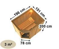 Karibu Heimsauna Lavea  (Rundeinstieg) Ofen 9 kW Bio externe Strg easy Kein Kranz 68 mm Systemsauna