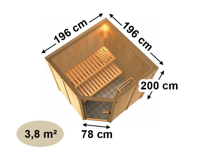 Karibu Heimsauna Aukura (Rundeinstieg) Ofen 9 KW externe Strg easy Kein Kranz 68 mm Systemsauna