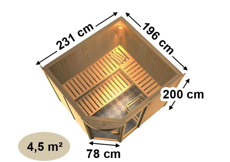Karibu Heimsauna Lakura (Eckeinstieg) Ofen 9 kW integr. Strg  Kein Kranz 68 mm Systemsauna