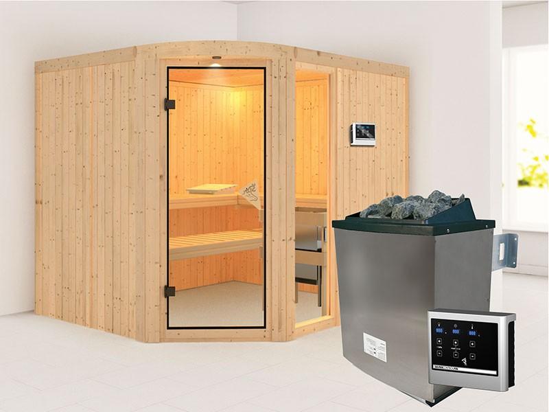 Karibu 68mm Systembausauna Lakura - Eckeinstieg - Rundbogen inkl. LED-Spot - Fensterelement - 9kW Saunaofen mit externer Steuerung Easy