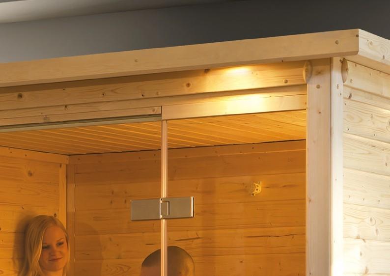 Karibu Heimsauna Sonara (Fronteinstieg) Ofen 9 kW Bio externe Strg easy mit Dachkranz 40 mm Massivholzsauna